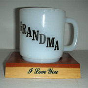 SALE Glasbake Grandma cup with sentimental poem and stand
