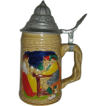 Ceramic stein w/ German characters metal lidded cover