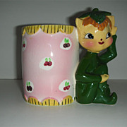 Charming Kelly green Elf w/ calico vase planter