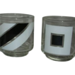 Retro geometric shape black white Vintage drink glasses