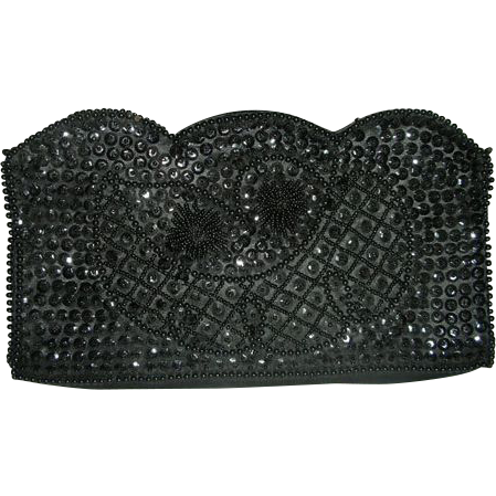Black Italian beaded Bonsoir clutch purse