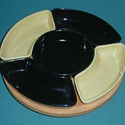Retro Pottery Black & yellow Lazy Susan