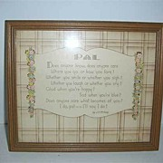 Buzza motto �Pal� poem framed picture