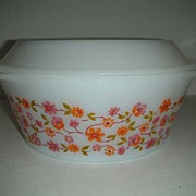 SALE Flowered orange and rose  casserole