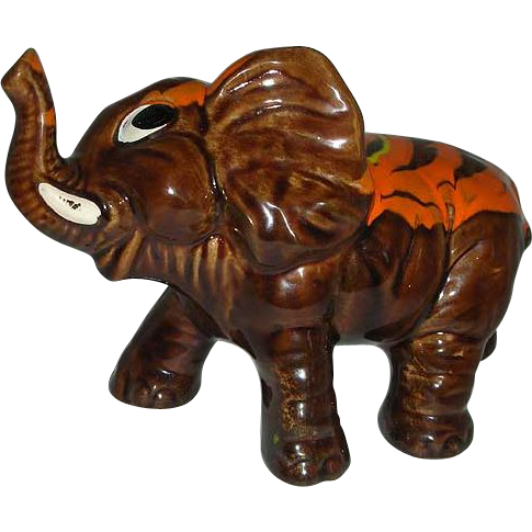 Brown orange splash  elephant