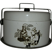 Covered metal Cake pie or cookie carrier w/ Chef & Scottie