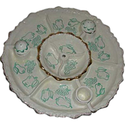 1950 Chip  Dip California Aqua Pottery Fruit & Vegetable Server