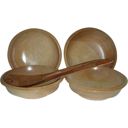 Japan Woodpecker four wood bowls & spoon fork