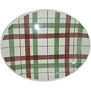 REDUCED Homer Laughlin Duraprint  plaid  platter
