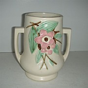 McCoy double handled Blossom time pottery vase