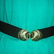 Black stretch metal shell belt