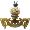 Jade Double Dragon, Mammoth Ivory Buddha Ojimi Pendant Necklace