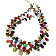 REDUCED Rainbow Tourmaline Fancy Drop Necklace