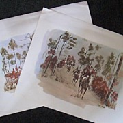 Hunting Prints-Watercolor Fox Hunt by Nancy Wilds