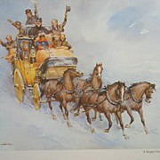 "Wolfgang Tritt Vintage Watercolor ""A Happy New Year Ride"""