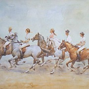 "Wolfgang Tritt  Vintage Watercolor ""Riding in the Breeze"""