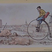 Pigs and Tricycle by Anton Pieck