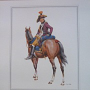 Officer Soldier-United Belgian States Lithograph