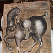 Oil Painting Horse on Beige Linen