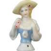 German Half Doll with Blue Dress and Yellow Hat