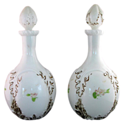 Pair of  Painted Milk Glass Barber or Cologne Bottles