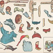 Uncut Sheet of Stickers of Victorian-Era Children at Play