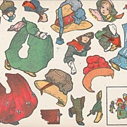 Old Gummed Puzzle Sheet of Uncut  Victorian Children