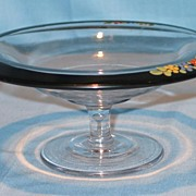 Lovely Glass Compote with Reverse Painted Black Enamel and Hand Painted Flowers