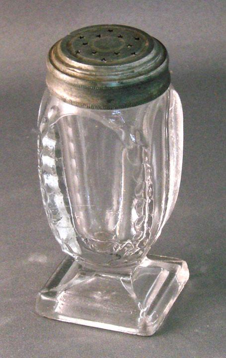 Notched Oval Pattern Glass Salt Shaker