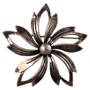 Sterling Silver flower pin Denmark marked N.E. FROM