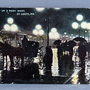 1911 St. Louis Missouri postcard &quot;Rainy Night on Broadway&quot;