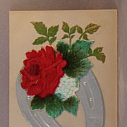 1909 Postcard with Horseshoe and Flocked Flowers