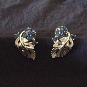 Beautiful Lisner clip earrings with deep blue rhinestones