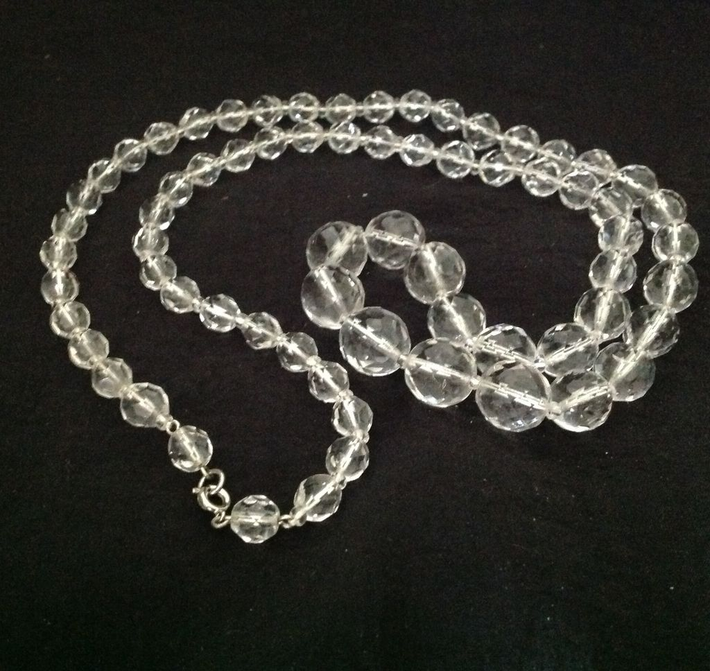 faceted clear glass bead necklace from carolynstt on ruby