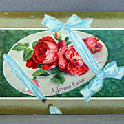 A Joyous Easter postcard with ribbons and cabbage roses