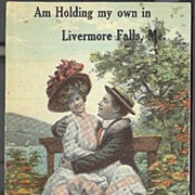 Am Holding My Own in Livermore Falls, Me.  Humorous Old Post Card
