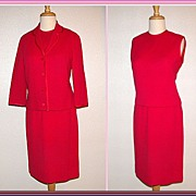 Mad Men Fantastic Fuchsia Three Piece Suit by Butte Knit ~1960�s