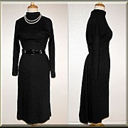 Marvelous Black 1950�s Wiggle Dress by Junior Accent