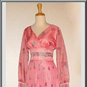 Splendid Pink 1970�s Alfred Shaheen Maxi Dress