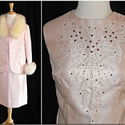REDUCED 1960�s Three Piece Suit with Rhinestone Studded Shell & Fur Trimmed Jacket