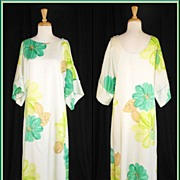 1970�s Malihini Hawaii Designers Collection Hostess Maxi Dress