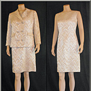 1960�s Brocade Dress & Jacket Ensemble with Rhinestone Buttons by Betsy Bates