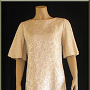 REDUCED 1970�s Hawaiian Casuals by Stan Hicks Ivory Floral Brocade Gown