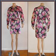 Seriously 70�s Shiny Floral Shirtwaist Sheath Dress