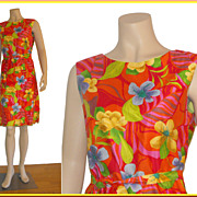 Vintage Bright & Bold 1960s Hawaiian Sheath Dress