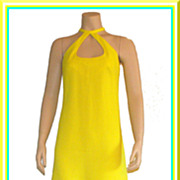Vintage 1960�s/1970�s Lemon Yellow Maxi Halter Dress