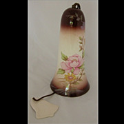 SOLD Vintage Hanging Pottery Dinner Bell, Floral Design