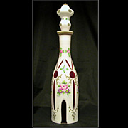 REDUCED Bohemian Cased Glass White Cut to Red & Clear Hand-Painted Decanter