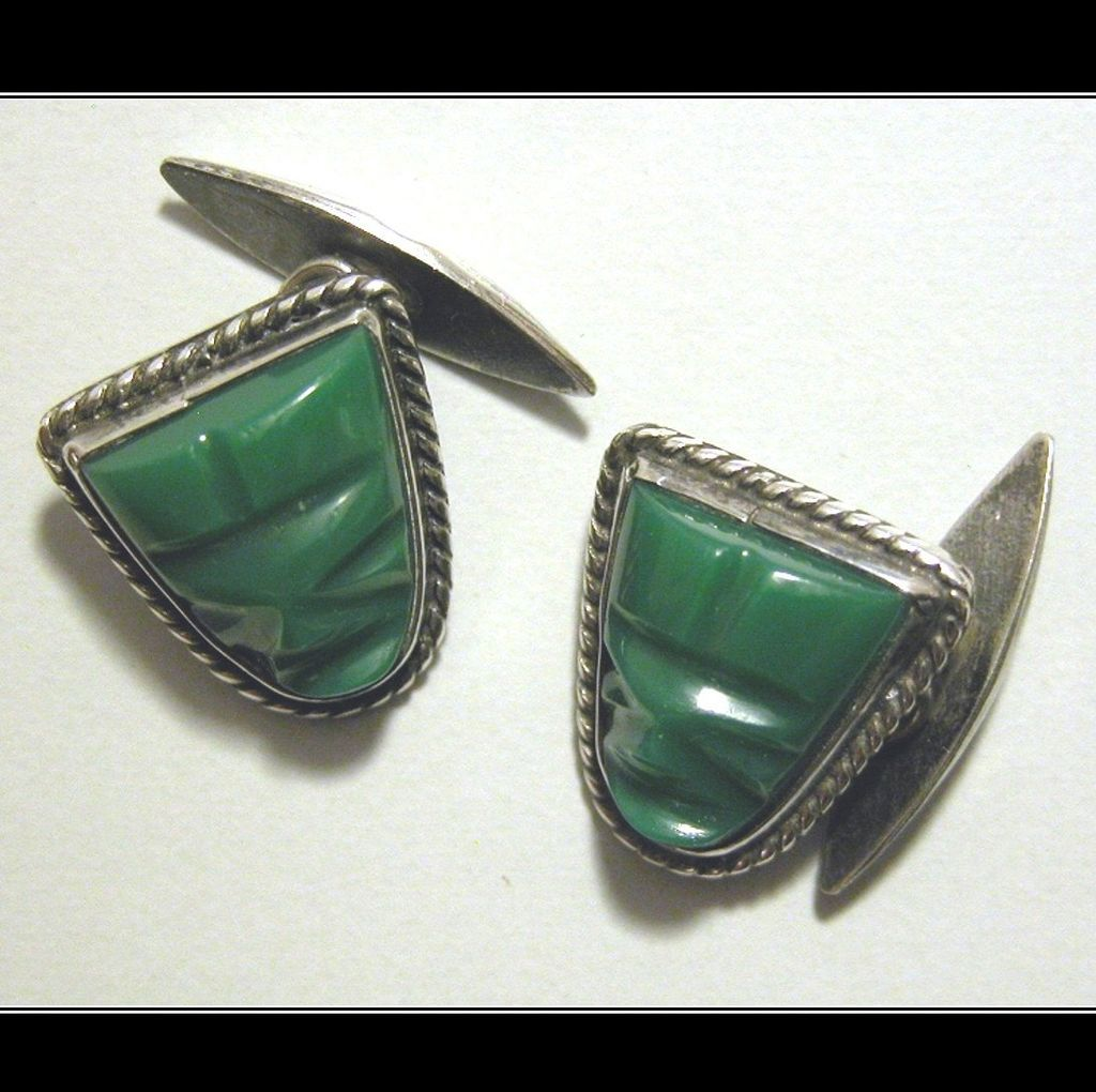 Sterling Silver Green Onyx Mask Cuff Links, Mexico