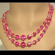 REDUCED Vintage 2-Strand Pink & Clear Glass Crystal Necklace